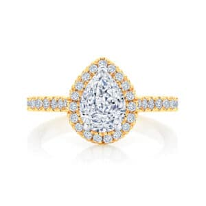 Pear Halo Engagement Ring Yellow Gold | Rosetta (Pear)