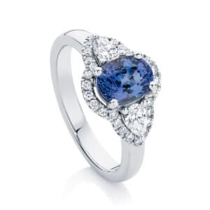 Oval Three Stone Engagement Ring Platinum | Rosetta Trio