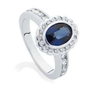 Oval Halo Engagement Ring White Gold | Royale