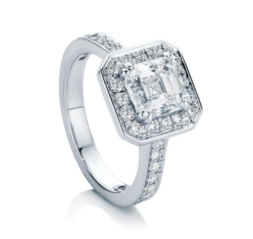 Asscher Halo Engagement Ring White Gold   Serenity (Asscher)