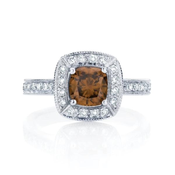 Cushion Halo Engagement Ring Platinum   Serenity (Cognac)