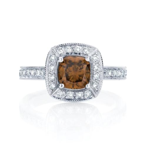 Cushion Halo Engagement Ring White Gold   Serenity (Cognac)