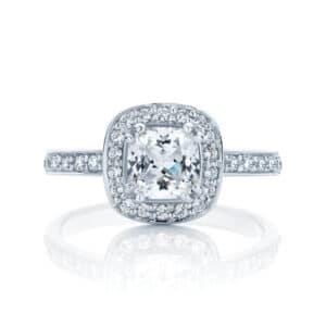 Cushion Halo Engagement Ring White Gold | Serenity (Cushion)
