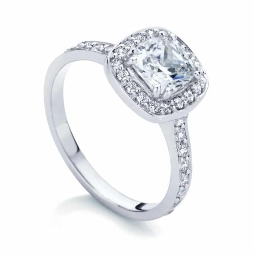 Cushion Halo Engagement Ring White Gold   Serenity (Cushion)