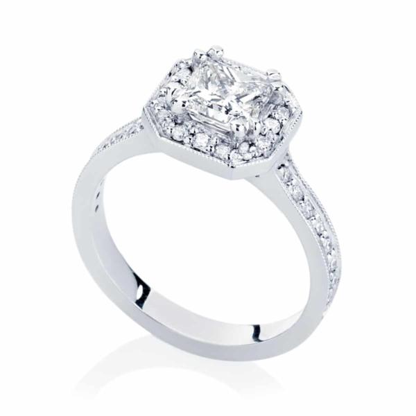 Princess Halo Engagement Ring Platinum | Serenity (Princess)