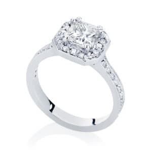 Princess Halo Engagement Ring White Gold | Serenity (Princess)
