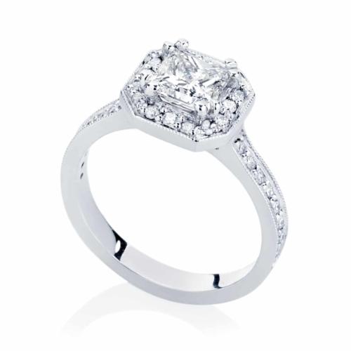Princess Halo Engagement Ring White Gold   Serenity (Princess)
