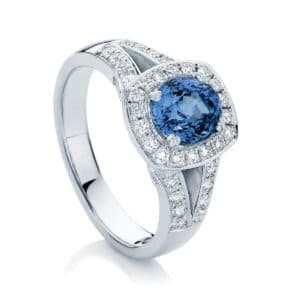 Oval Halo Engagement Ring Platinum | Sky (Oval)
