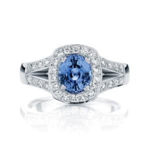 Oval Halo Engagement Ring White Gold | Sky (Oval)