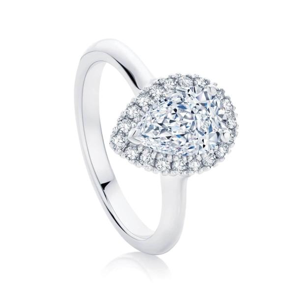 Pear Halo Engagement Ring Platinum | Snow Drop
