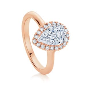 Pear Halo Engagement Ring Rose Gold | Snow Drop
