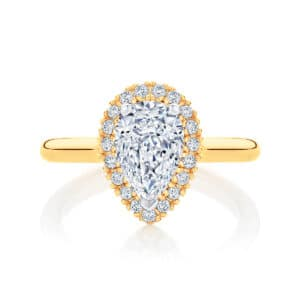 Pear Halo Engagement Ring Yellow Gold | Snow Drop