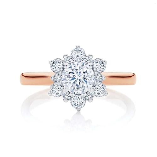 Round Halo Engagement Ring Rose Gold   Snowflake