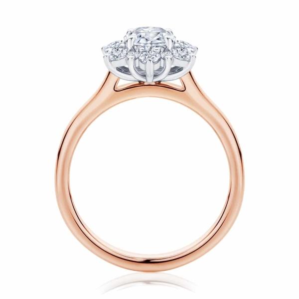 Round Halo Engagement Ring Rose Gold | Snowflake