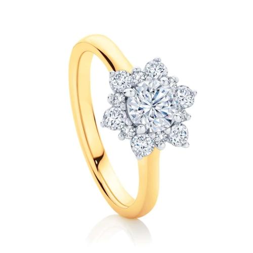 Round Halo Engagement Ring Yellow Gold | Snowflake