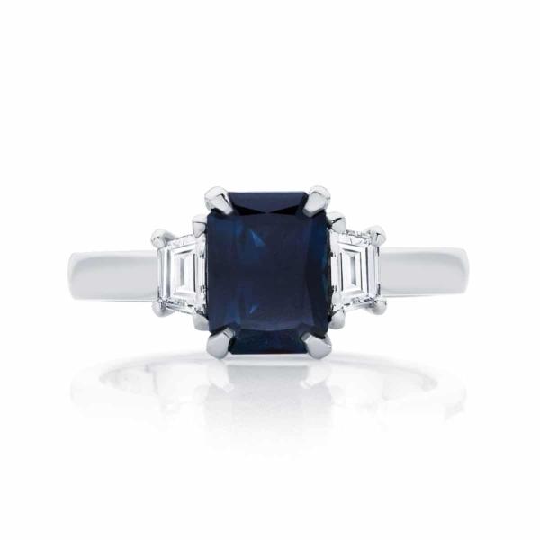 Emerald Three Stone Engagement Ring Platinum   Soiree