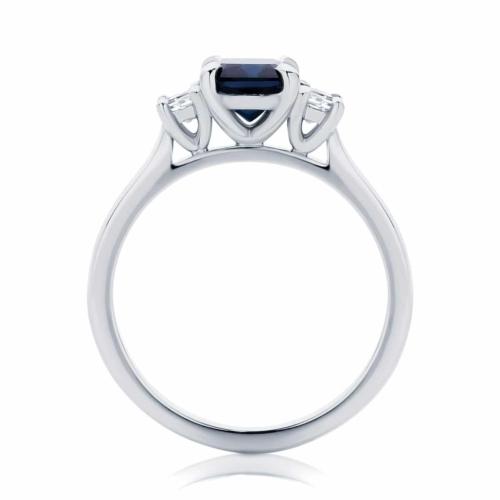 Emerald Three Stone Engagement Ring White Gold   Soiree