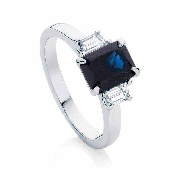 Emerald Three Stone Engagement Ring White Gold | Soiree
