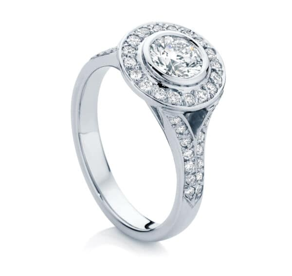 Round Halo Engagement Ring White Gold | Soleil