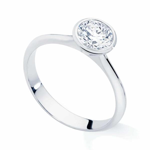 Round Solitaire Engagement Ring White Gold | Sunburst