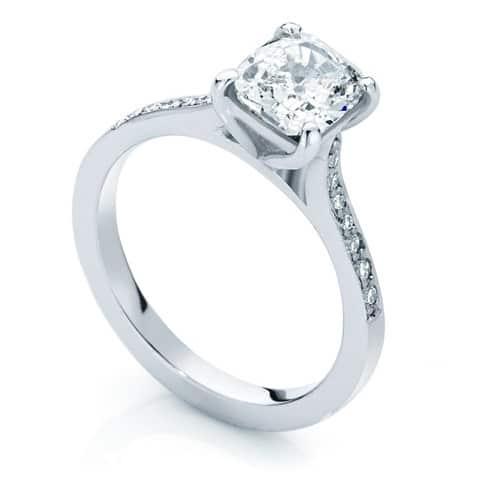 Cushion Side Stones Engagement Ring White Gold | Sweet Pea