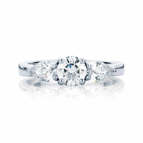 Pear Three Stone Engagement Ring Platinum | Swing Trio (Pears)