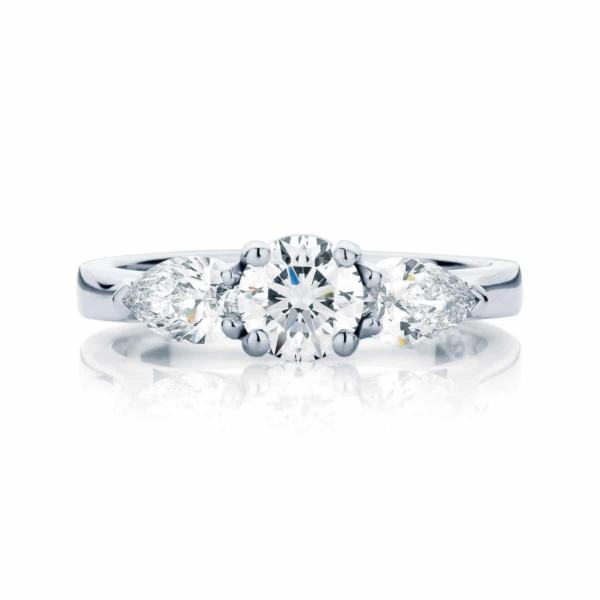 Pear Three Stone Engagement Ring Platinum   Swing Trio (Pears)