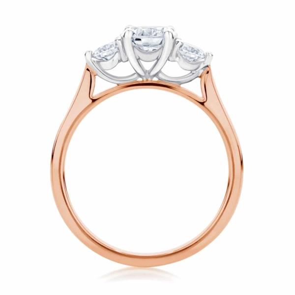 Round Three Stone Engagement Ring Rose Gold | Swing Trio