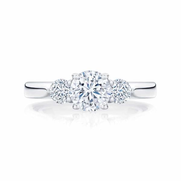Round Three Stone Engagement Ring White Gold | Swing Trio