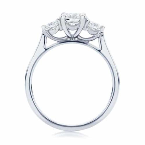 Round Three Stone Engagement Ring White Gold   Swing Trio