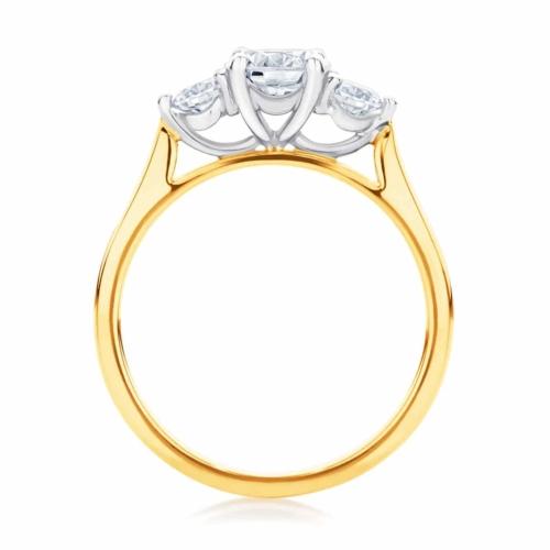 Round Three Stone Engagement Ring Yellow Gold   Swing Trio