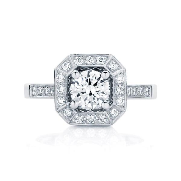 Round Halo Engagement Ring Platinum | Tesoro