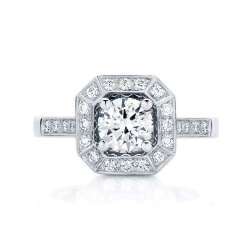 Round Halo Engagement Ring White Gold   Tesoro