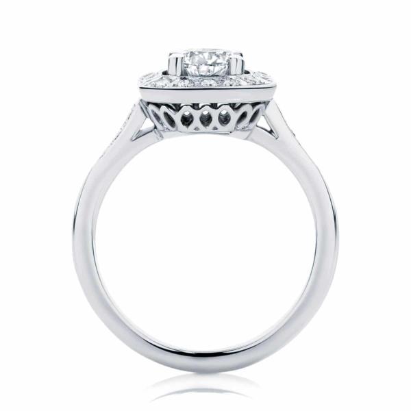Round Halo Engagement Ring White Gold | Tesoro