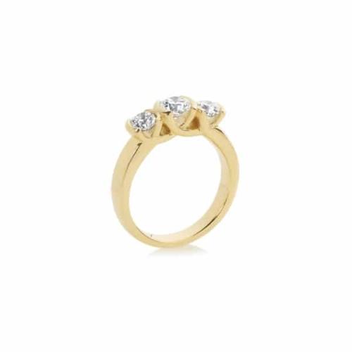 Round Three Stone Engagement Ring Yellow Gold | Trilogy