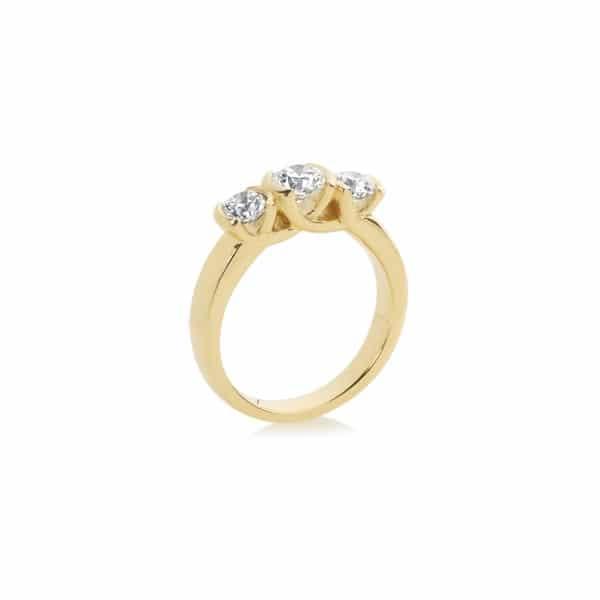 Round Three Stone Engagement Ring Yellow Gold   Trilogy