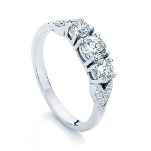 Round Three Stone Engagement Ring Platinum   Trio (leaf detail)