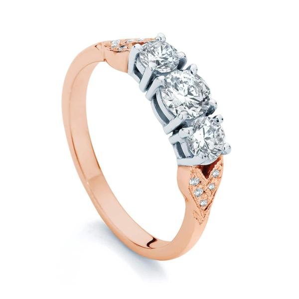 Round Three Stone Engagement Ring Rose Gold   Trio (leaf detail)