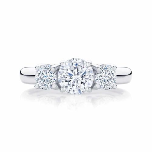 Round Three Stone Engagement Ring White Gold   Trio