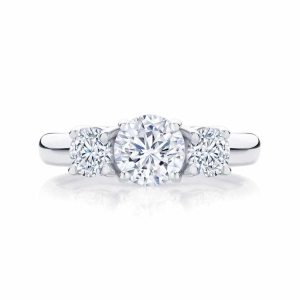 Round Three Stone Engagement Ring White Gold | Trio