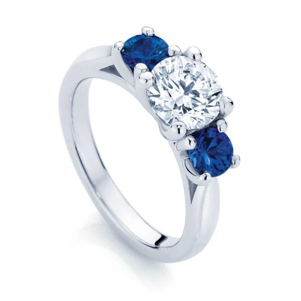 Round Three Stone Engagement Ring Platinum | Trio with Sapphire