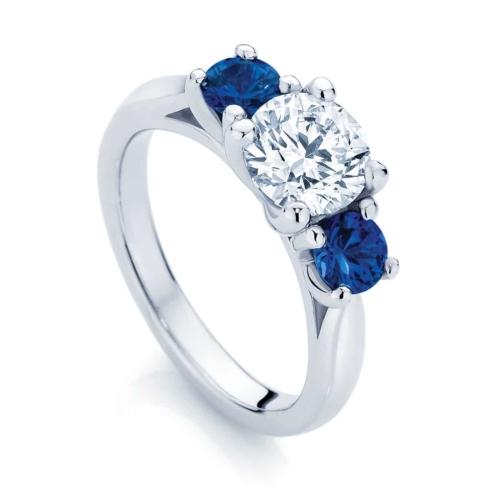 Round Three Stone Engagement Ring White Gold | Trio with Sapphire