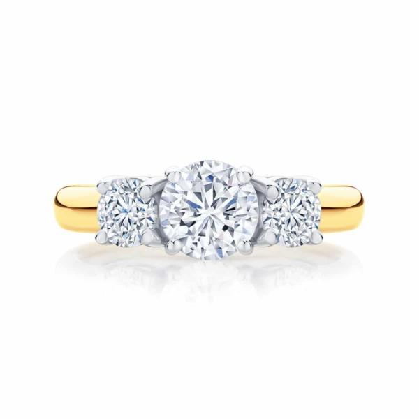 Round Three Stone Engagement Ring Yellow Gold | Trio