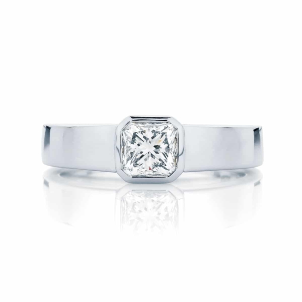 Radiant Solitaire Engagement Ring White Gold | Tzarina
