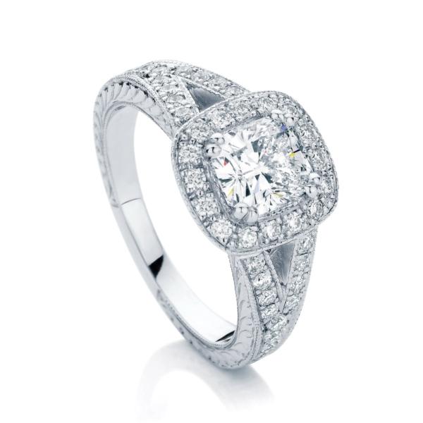 Cushion Engraved Engagement Ring Platinum | Victoria