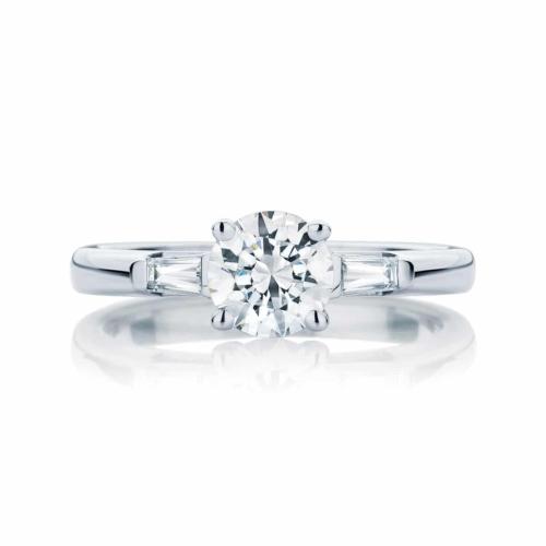 Round Three Stone Engagement Ring Platinum | Willow (Brilliant)