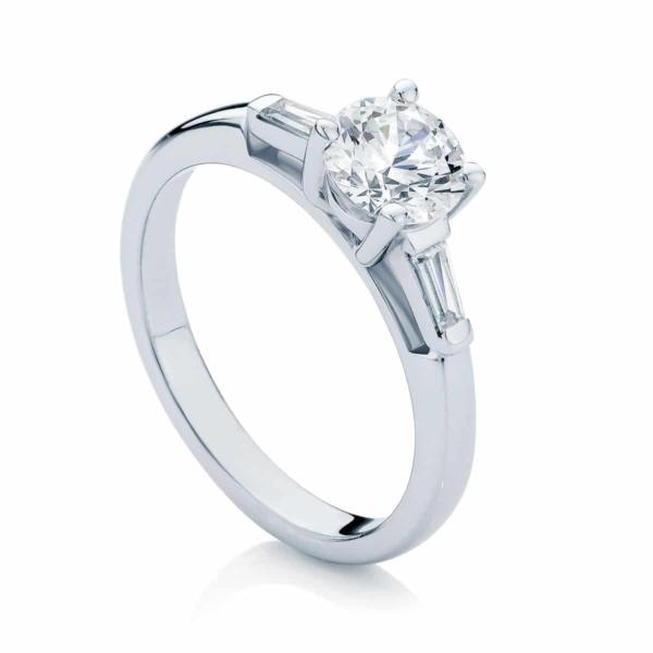Round Three Stone Engagement Ring White Gold | Willow (Brilliant)