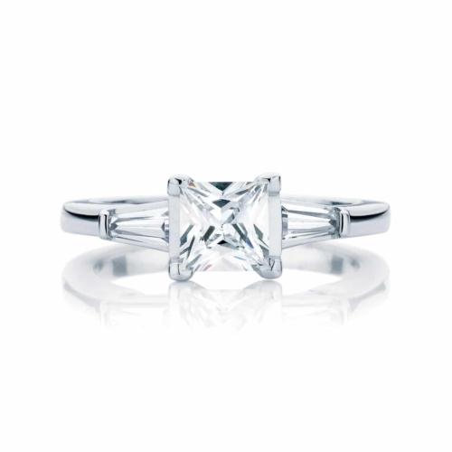 Princess Three Stone Engagement Ring Platinum | Willow (Princess)