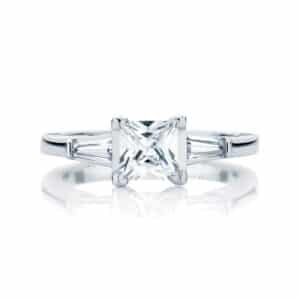 Princess Three Stone Engagement Ring White Gold | Willow (Princess)