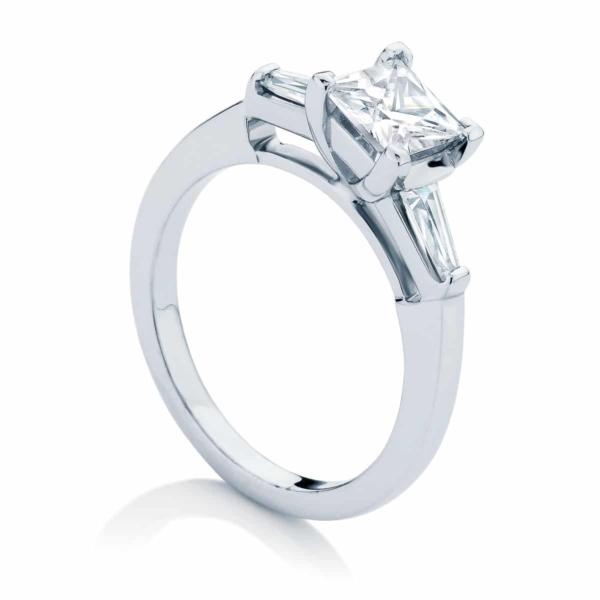 Princess Three Stone Engagement Ring White Gold | Willow (Princess)
